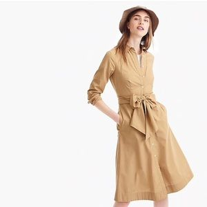 New J.Crew Tie-waist shirtdress in cotton poplin